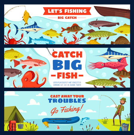 Fishing banner with fisherman and fish on hook. Fisher with rod and fish catch on river bank, freshwater perch, pike and carp, marlin, salmon and trout for fishing sport club camp design