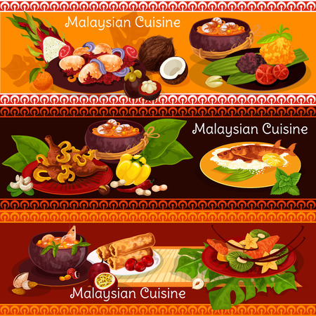 Malaysian cuisine restaurant banner for exotic asian menu. Beef stew rendang, chicken curry and grilled fish, served with rice, hot curry egg, fried spring roll, soup with noodle, seafood and papaya