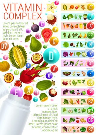 Vitamin complex with vegetarian food sources Illustration