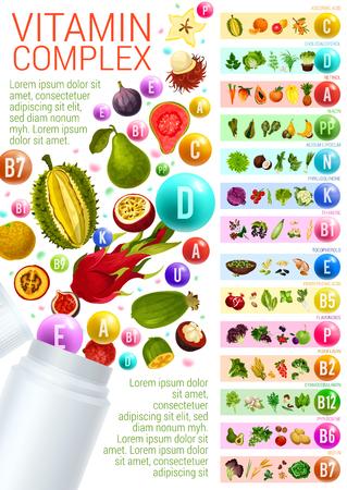 Vitamin complex with vegetarian food sources Ilustração