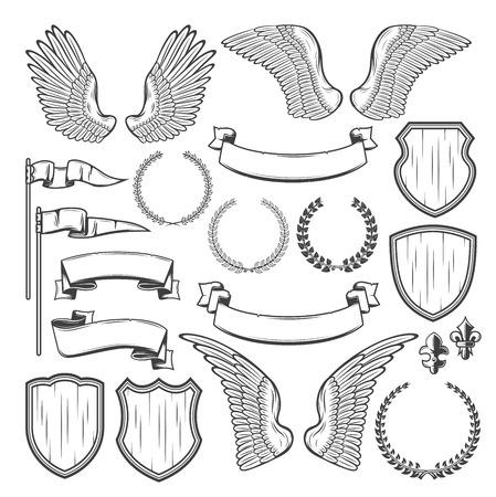 Heraldisches Element für mittelalterliches Abzeichen und königliches Wappenentwurf. Heraldikschild, Flügel- und Lorbeerkranz, Vintage-Bandbanner, Flagge und viktorianische Lilie für Wappenschablone