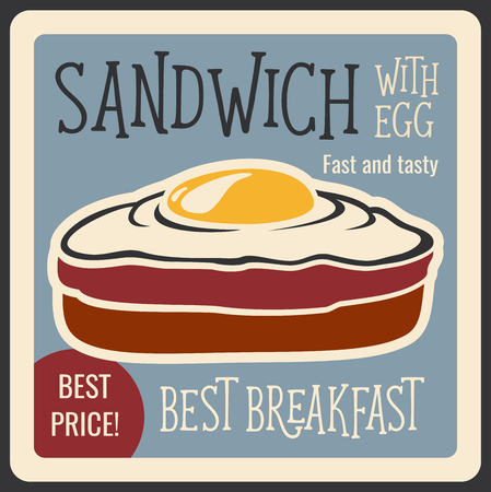 Fast food restaurant retro banner with sandwich snack. Wheat bread toast with fried egg vintage poster for fastfood cafe menu and advertising flyer design Stock Illustratie