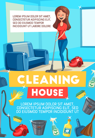 Cleaning house banner for housework themes design. Housewife or maid cleaning carpet with vacuum cleaner poster with frame of detergent spray, brush and sponge, mop, glove, broom and bucket Illustration