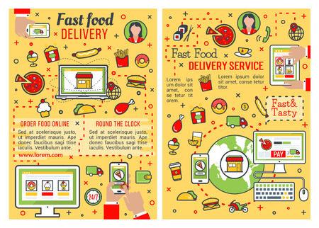 Fast food delivery service banner set. Online order of fastfood restaurant dish poster with thin line icon of computer, mobile phone and tablet, pizza, hamburger and hot dog, chicken, fries and donut Banque d'images - 121823321