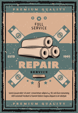 House repair and renovation vintage banner with work tool. Wallpaper roll, paint roller and ruler retro grunge poster in scratched frame for construction, building and carpentry themes design