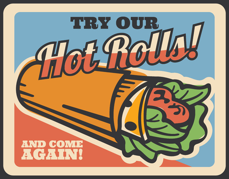 Doner kebab retro poster of turkish fast food meat roll. Grilled chicken and fresh vegetable wrapped in flatbread, sandwich or shawarma vintage banner for kebab shop or fastfood restaurant design