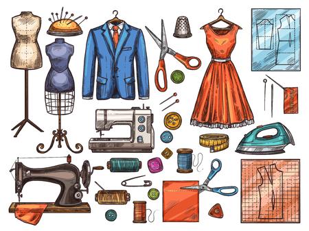 Szkic narzędzia do szycia i wyposażenia krawieckiego do projektowania pracowni lub warsztatu mody. Maszyna do szycia, igła i nożyczki, nici, guzik i szpilka, manekin, tkanina i szpula, sukienka, garnitur i ikona wzoru