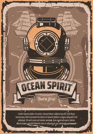 Nautical helmet retro poster for marine travel template. Vintage deep sea diver helmet with ocean ship helm and sailing boat in grunge frame, decorated with ribbon banner for maritime design Vectores