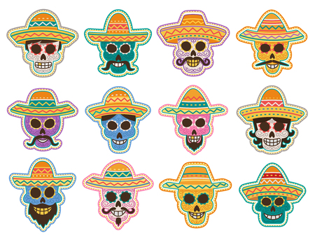 Day of the Dead skull icon for mexican halloween holiday symbol. Sugar skull of human skeleton shape with sombrero hat, decorated by floral ornament, moustache and beard for Aztec festival design Illustration