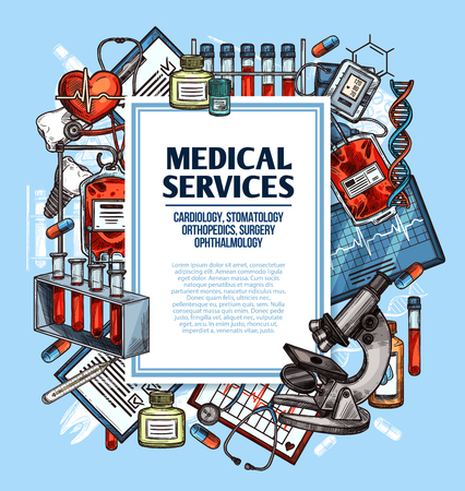 Medical service sketch poster for cardiology, surgery and dentistry, orthopedics and ophthalmology medicine. Heart, stethoscope and thermometer, pill, blood and microscope, tooth implant and DNA icon