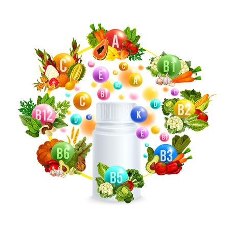 Vitamina natural con diseño de cartel de comida saludable. Ilustración de vector