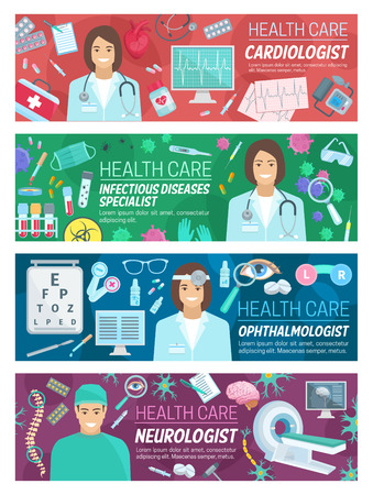 Health care baner of cardiology, neurology, infectiology and ophthalmology medicine. Cardiologist, neurologist, ID specialist and ophthalmologist doctor poster for medical service design