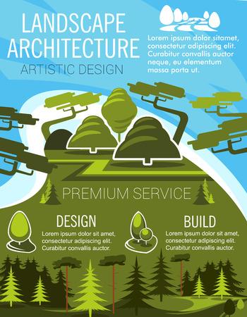 Landscape design banner with eco park green tree  イラスト・ベクター素材