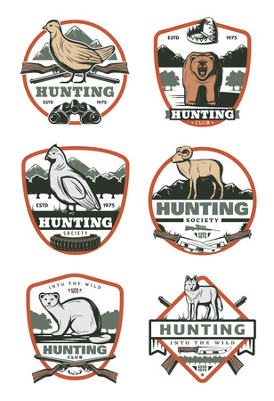 Hunting club vintage badge with bird and animal