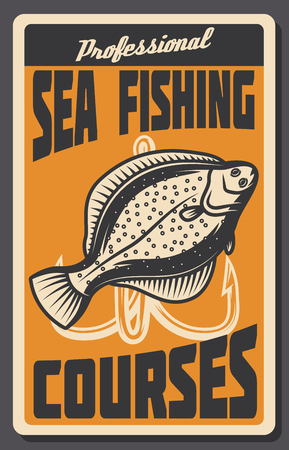 Sea fishing courses vintage banner with fish and hook. Deep water ocean flounder fish with treble hook retro poster for fisherman club and fishing sport themes design Illustration