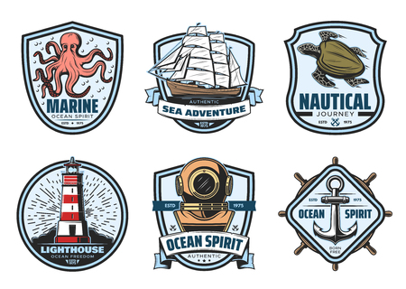 Sea adventure vintage label for nautical heraldry