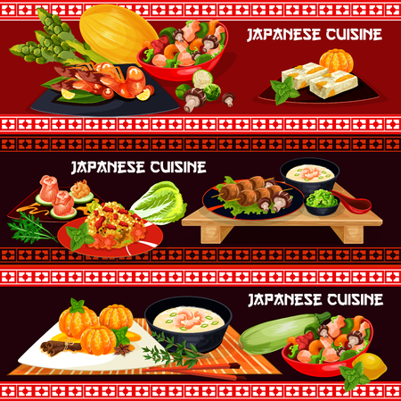 Japanese cuisine restaurant banner with asian seafood menu. Teriyaki chicken with vegetable, wasabi sauce and marinated ginger, seafood soup, chili shrimp and meat rice, grilled chicken and fruit cake Illustration