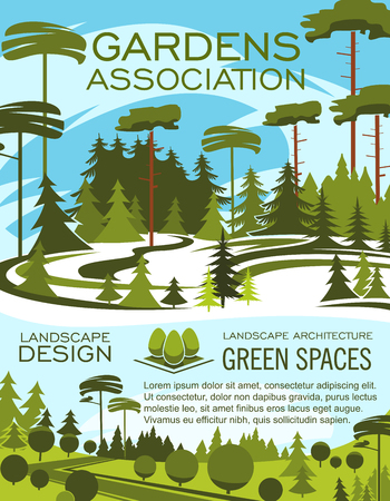 Landscape design studio, gardening service banner