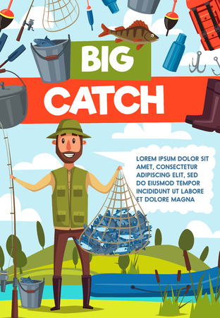 Big catch fish banner for fishing sport, outdoor activity design. Fisherman with rod, fish net and boat on river or lake bank poster, adorned by hook, bait and tackle, boot, bucket and backpack icon Illustration