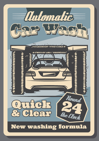Car wash retro poster of vehicle automotive service for garage promotion design. Automobile in tunnel of car wash machine with brush, foam, bubble and drop vintage advertising banner template
