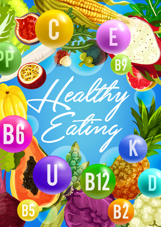 Vitamin food poster for healthy eating design Illustration