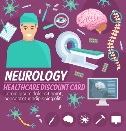 Neurology medicine discount card for hospital or medical clinic design. Neurologist doctor with pill, syringe and tool, brain, spine, neuron and MRI scan banner for medical sale promotion template