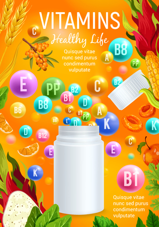 Vitamin and mineral for healthy life banner design Illustration