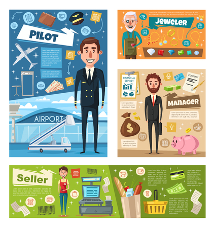 Profession people banner set with manager, pilot, seller and jeweler occupation. Man and woman in uniform cartoon character for finance, transportation, retail and art professional worker design
