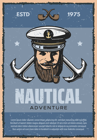Nautical adventure vintage banner for sea travel themes design. Old anchor and marine ship captain with tobacco pipe and cap retro grunge poster, decorated with star for ocean cruise or marine journey