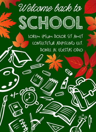 Back to School vector poster on chalkboard Illustration