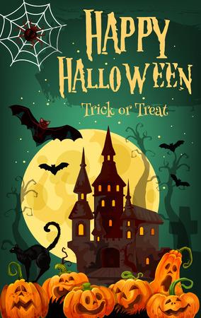 Halloween horror house and pumpkin greeting card 向量圖像