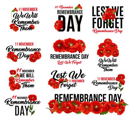 Roter Mohnblumenikonenentwurf des Erinnerungstages