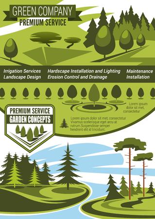 Landscaping and gardening service company banner Ilustração