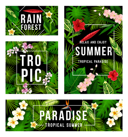 Summer tropical paradise poster set with frame of palm leaf and exotic flower. Green foliage of jungle plant and tree with hibiscus, orchid and plumeria banner for Hawaiian vacation and holiday design