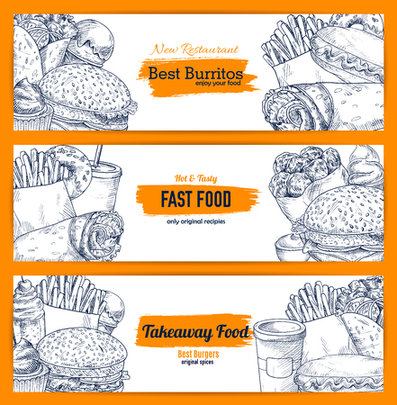 Vector fast food street food snacks sketch banners