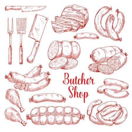 Vector schets iconen van slagerij vleesproducten