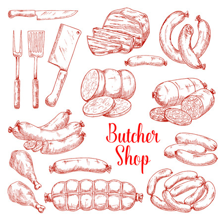 Vector sketch icons of butchery meat products Standard-Bild - 103988743