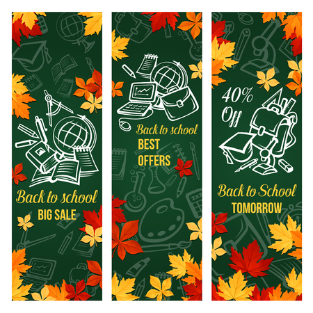 Back to school sale banner of discount stationery Ilustracja