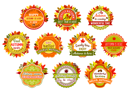 Autumn label and badge set of fall nature leaf