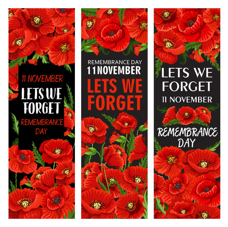 Red poppy flower banner set for Remembrance Day design. Lest We Forget memorial card template of World War soldier and veteran with floral pattern of British legion poppy flower