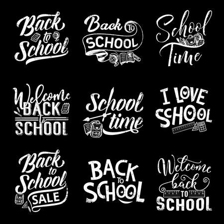 Back to school chalk lettering on blackboard Illustration