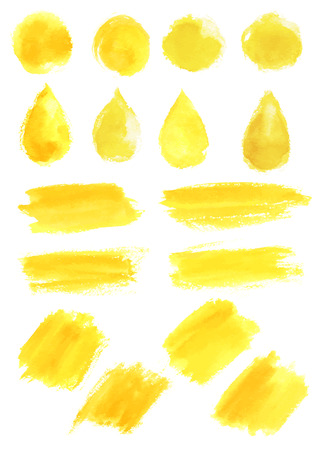 Watercolor yellow blob stains strokes vector icons Çizim