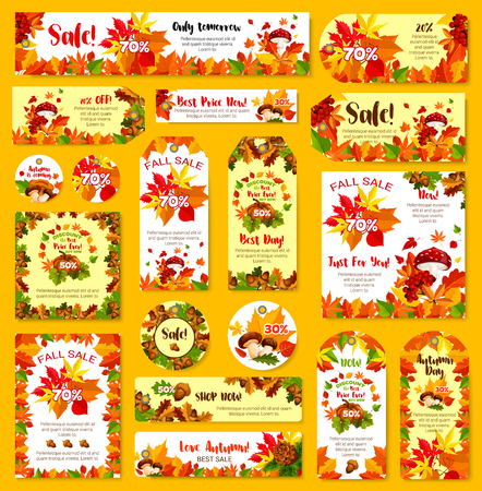Autumn sale shop discount vector poster tag