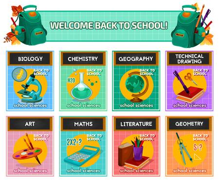 Póster de materias escolares para el diseño de regreso a la escuela.
