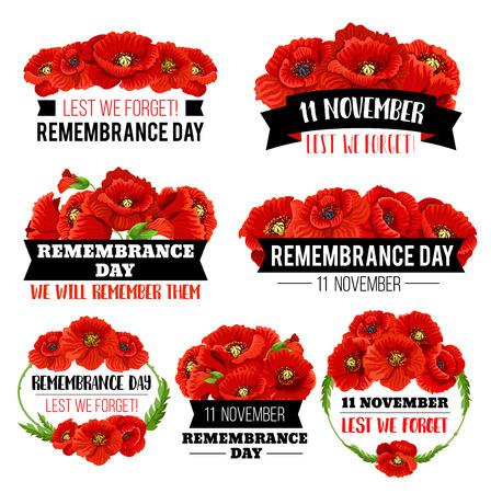 Red poppy flower symbol for Remembrance Day design
