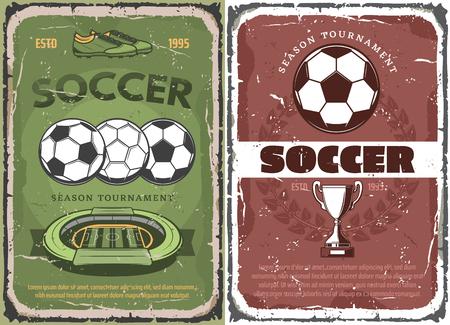 Vintage grunge soccer game posters Illustration