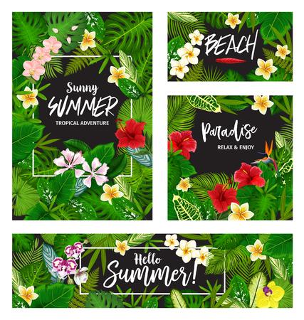 Bonjour bannière d'été de vacances tropicales et invitation à une fête sur la plage. Cadre de carte de feuille de palmier exotique et de fleur hawaïenne avec feuillage vert de monstera, fougère et bananier, hibiscus, orchidée et plumeria Vecteurs