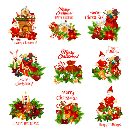 Christmas wreath with New Year gift icon for winter holidays greeting card. Xmas and holly tree with Santa, present and bell, candle, candy, star and cookie, ribbon bow and poinsettia festive badge Ilustração