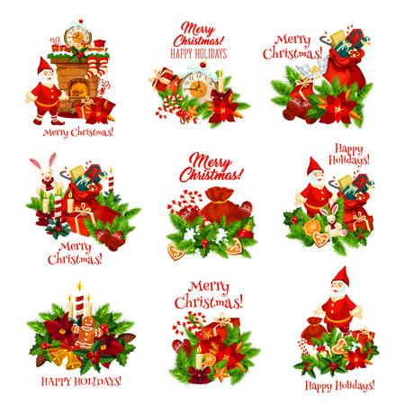 Corona de Navidad con icono de regalo de año nuevo para tarjeta de felicitación de vacaciones de invierno. Navidad y árbol de acebo con Santa, presente y campana, vela, caramelo, estrella y galleta, lazo de cinta e insignia festiva de poinsettia