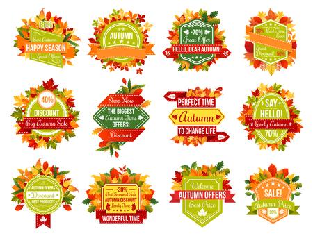 Autumn sale discount promo or fall seasonal icons